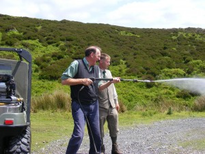 Chairman of Natural England, Andrew Sells, gets to grips with modern moorland management equipment