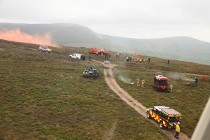 Multi-service wildfire training on a Lancashire grouse moor.