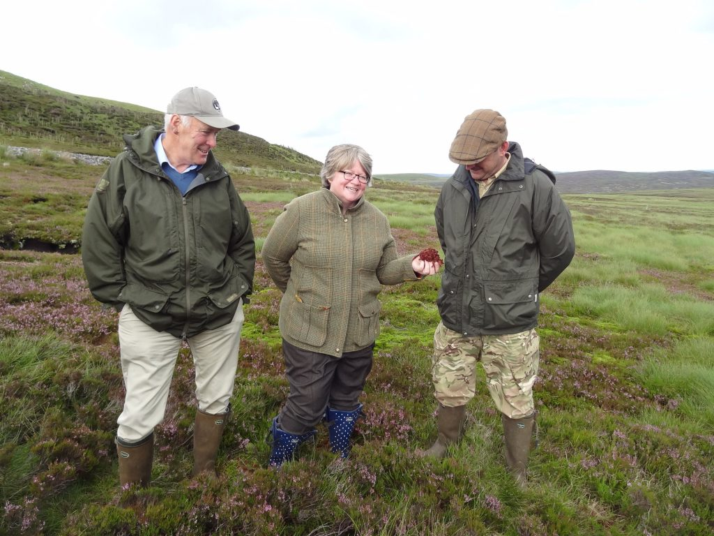 (left to right) Richard Johnson, Director of Wemmergill Moor Ltd, Dr Therese Coffey MP and John Pinkney, head gamekeeper at Wemmergill Estate